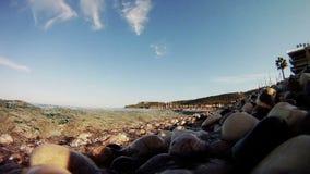 Ocean waves on the shoreline stock footage