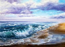 Ocean waves and sky Vector Illustration