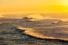 Ocean Waves Spray Sunrise. Waves rolling crashing towards beach with spray contrasts in morning sunrise with offshore winds.Photo image overlooking waves sea Stock Photos