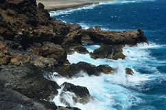 Ocean Waves Spraying Onto the Ruggged Coastal Rocks in Aruba Stock Photography