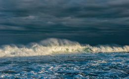 Ocean waves. Stormy weather, clouds sky background. Seascape. stock image