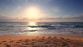 Ocean waves and sunrise. Tropical island beach.