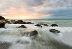 Ocean Waves Sunset Royalty Free Stock Images