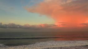 Ocean waves at sunset stock footage