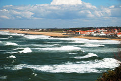 Ocean waves surging towards coast near Biarritz. Royalty Free Stock Images