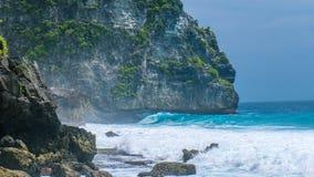 Ocean Waves on Tembeling Coastline at Nusa Penida island, Bali Indonesia Royalty Free Stock Photography