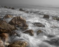 Ocean, Waves, Tide, Stones, Beach Royalty Free Stock Photo