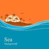 Ocean waves and tropical island.Vector background Stock Photo