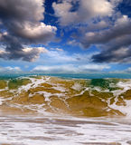 Ocean waves tsunami. Ocean waves, storm 6 points on a sunny day Royalty Free Stock Images
