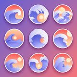 Ocean waves collection. Sea storm color waves. Waves, water elements set. Nature wave water storm badges. Ocean waves vector collection. Sea storm color waves royalty free illustration