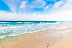 Ocean waves, white sand beach, Caribbean sea Stock Image