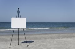 Ocean Whiteboard. A blank whiteboard to the left of the scene at the ocean Stock Image