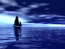 Ocean whith silhouette boat Stock Image