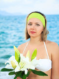 Ocean and woman Stock Image