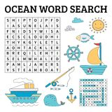 Ocean word search game for kids Royalty Free Stock Image