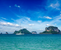 Ocean with yacht and islands. Thailand Royalty Free Stock Photo