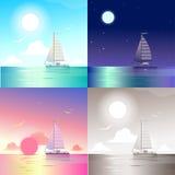 Ocean yacht scene set Stock Image