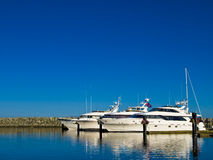 Ocean yachts. Luxury ocean yachts in their stalls behind the protection of breakwater Stock Image