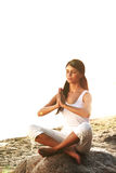 Ocean yoga sunrise Royalty Free Stock Image