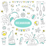 Oceanarium set of elements. Vector set of elements suitable for oceanarium or dolphinarium. Doodle dolphin show background. For posters, cards, brochures, flyers Stock Photo