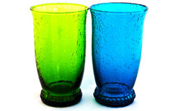 Oceanblue Vintage Glass. Oceanblue Vintage Water Glass Isolated Stock Photo