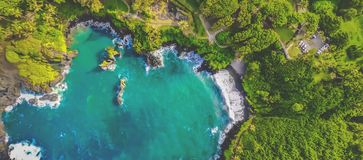 Great Hawaii oceanfront aerial shot on summer stock photography