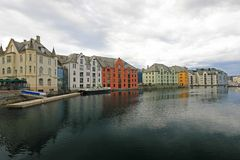 Oceanfront with colorful houses, cityscape of Alesund, Norway royalty free stock photography