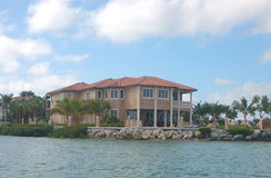 Oceanfront Home. Oceanfront house with dock and beautiful landscape Royalty Free Stock Photos