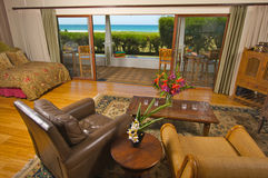 Oceanfront Home with View from Livingroom Stock Photos