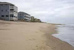 Oceanfront homes. On the beach in North Carolina stock images