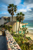 Oceanfront house and view of the Pacific Ocean. Oceanfront house and view of the Pacific Ocean at Cleo Street Beach, in Laguna Beach, California Stock Photography