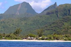 Oceanfront houses. On the pacific, Tahiti Stock Image
