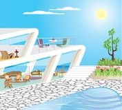 Oceanfront Modern Mansion Vector Illustration. Architecture Royalty Free Stock Photography