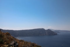 Oceanfront on Santorini island Stock Image