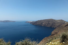 Oceanfront on Santorini island Royalty Free Stock Images