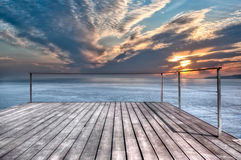 Oceanfront Terrace. Outdoor terrace facing the sea Stock Images