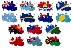 Oceania countries flag blots. On a white background Royalty Free Stock Images