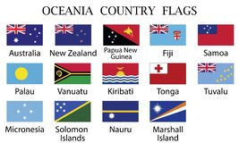 Oceania countries flags-Vector stock illustration