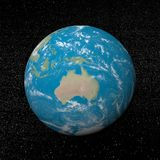 Oceania on earth - 3D render. Oceania on earth and universe background with stars - 3D render Stock Photo
