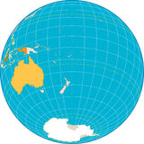 Oceania Globe. Separate and use any country as you wish Stock Images