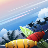Oceania. Illustration with native hand-made articles and surf board against palm trees and ocean coast in early morning hour royalty free illustration