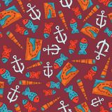 Oceania journey seamless pattern at red. colorful objects repeating background for web and print purpose. marker ar. Oceania journey seamless pattern. colorful vector illustration