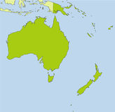 Oceania map. A ial map of the Oceania continent Royalty Free Stock Images