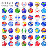 Oceania National Flag Buttons Set. Hi detail vector shiny buttons with all Oceania flags. Every button is isolated on it's own layer Stock Photo