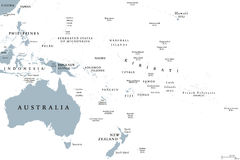 Oceania political map. With countries. English labeling. Region, comprising Australia and the Pacific islands with the regions Melanesia, Micronesia and stock illustration