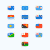 Oceanian Country Flags. Vector icons set Royalty Free Stock Photo
