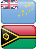 Oceanian Flag Buttons: Tuvalu, Vanuatu Stock Photo
