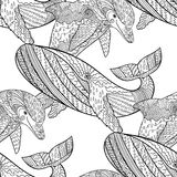 Oceanic animal zentangle seamless pattern. Hand drawn tile texture with dolphin and humpback whale.Template for textile, wrapping or scrapbook paper print Royalty Free Stock Photos