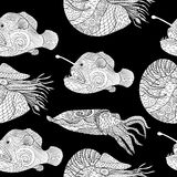 Oceanic animals zentangle seamless pattern. Royalty Free Stock Photos