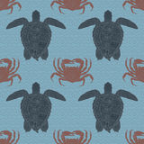 Oceanic animals zentangle seamless pattern. Stock Photos